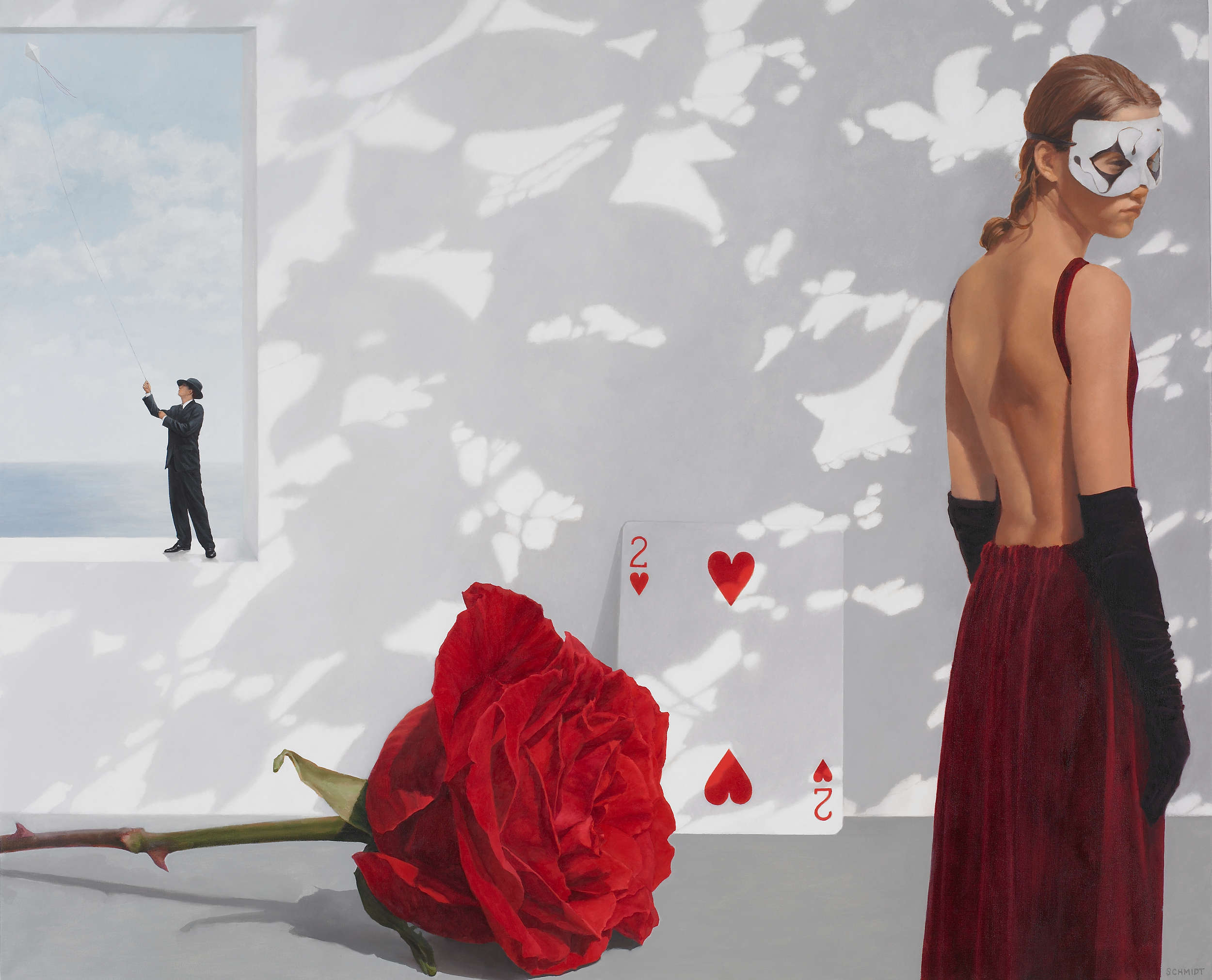 female figure wearing theatrical mask, black long gloves, white wall with shadows, horizontal red rose, diminutive male figure wearing  a  suit and fedora hat, flying a kite, card 2 of hearts