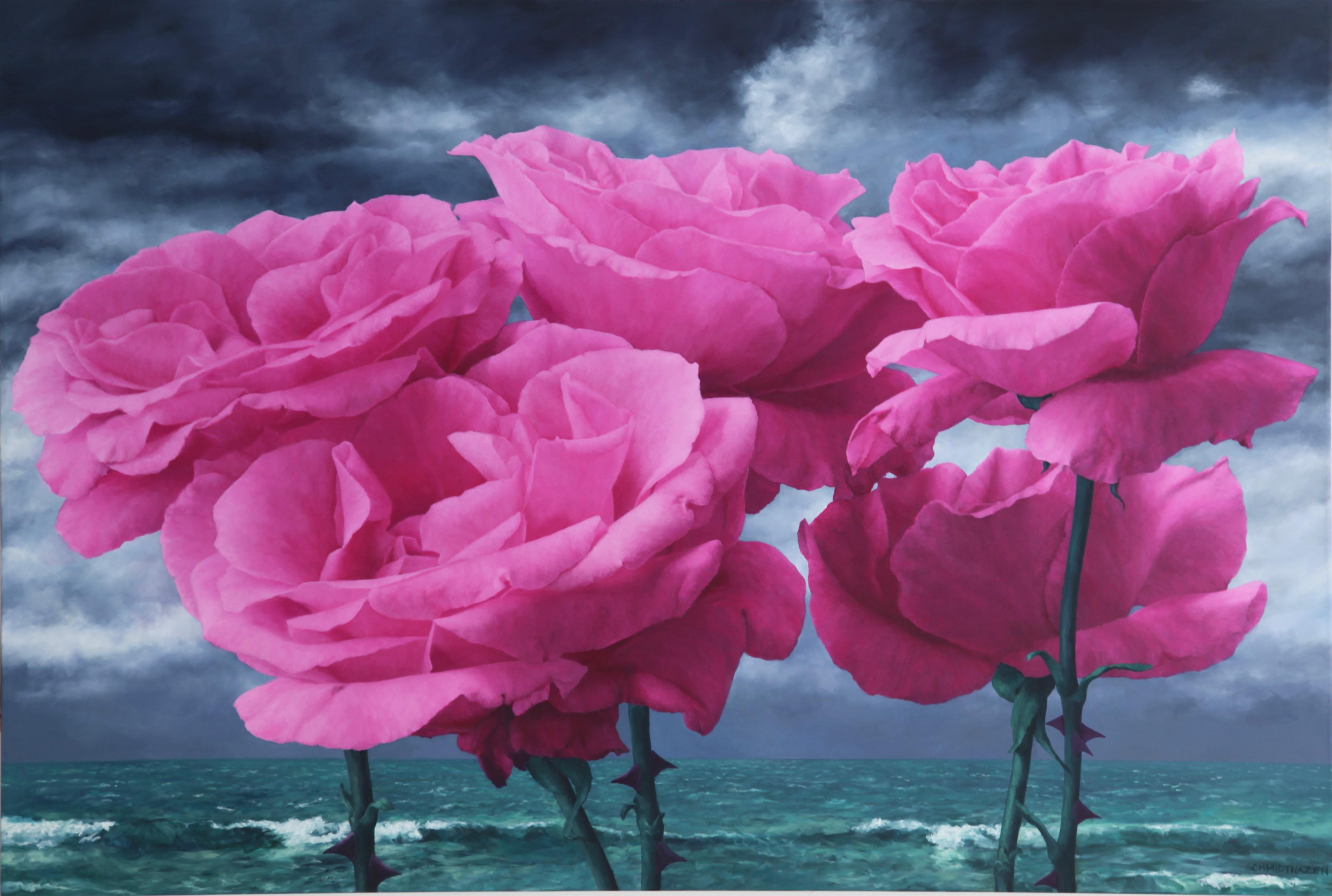 5 giant pink roses horizontal very stormy dark blue sky stormy acid green sea
