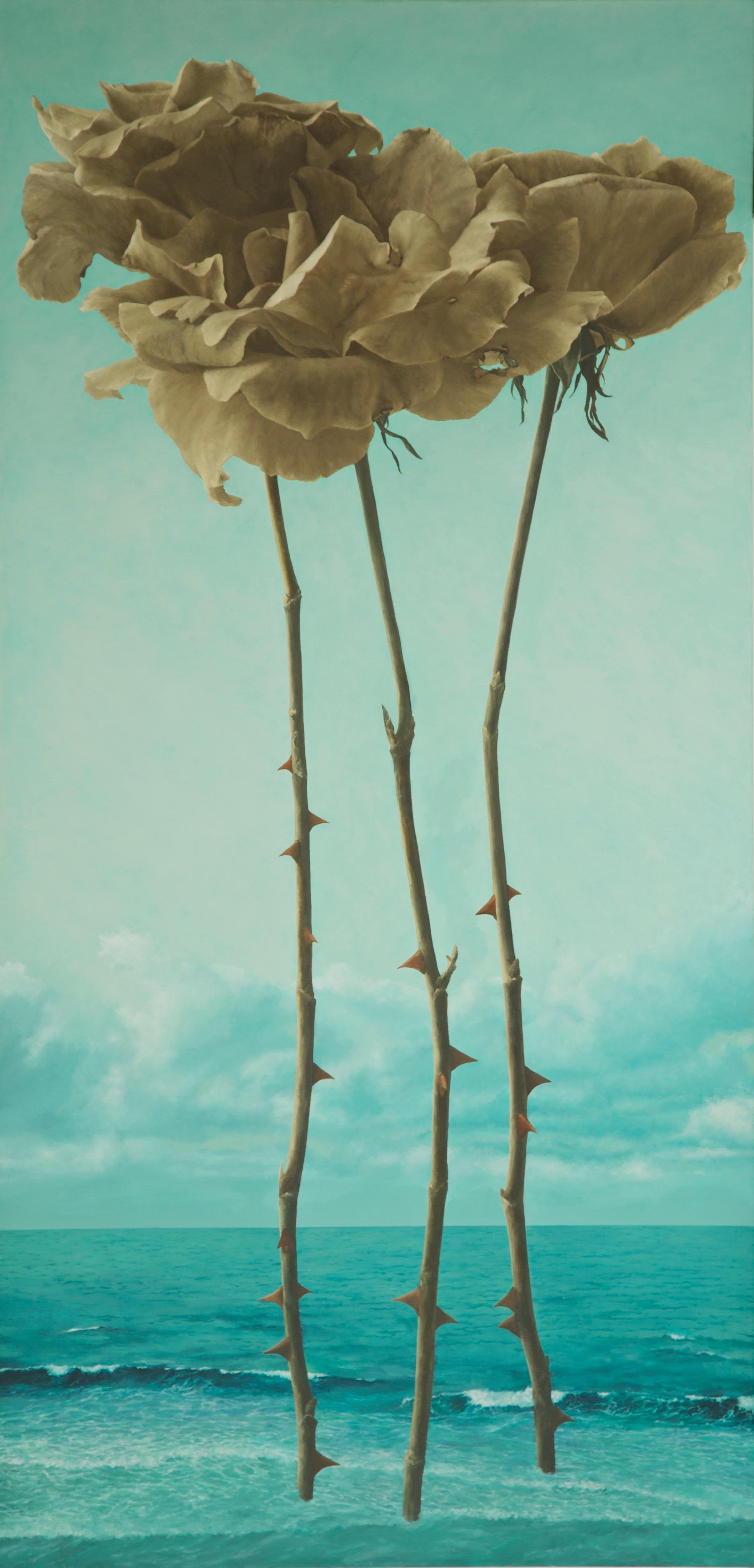 greenish sky and sea, sepia roses